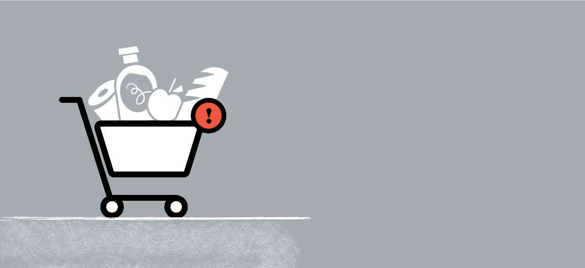 E-commerce cart icon design with food and beverage items