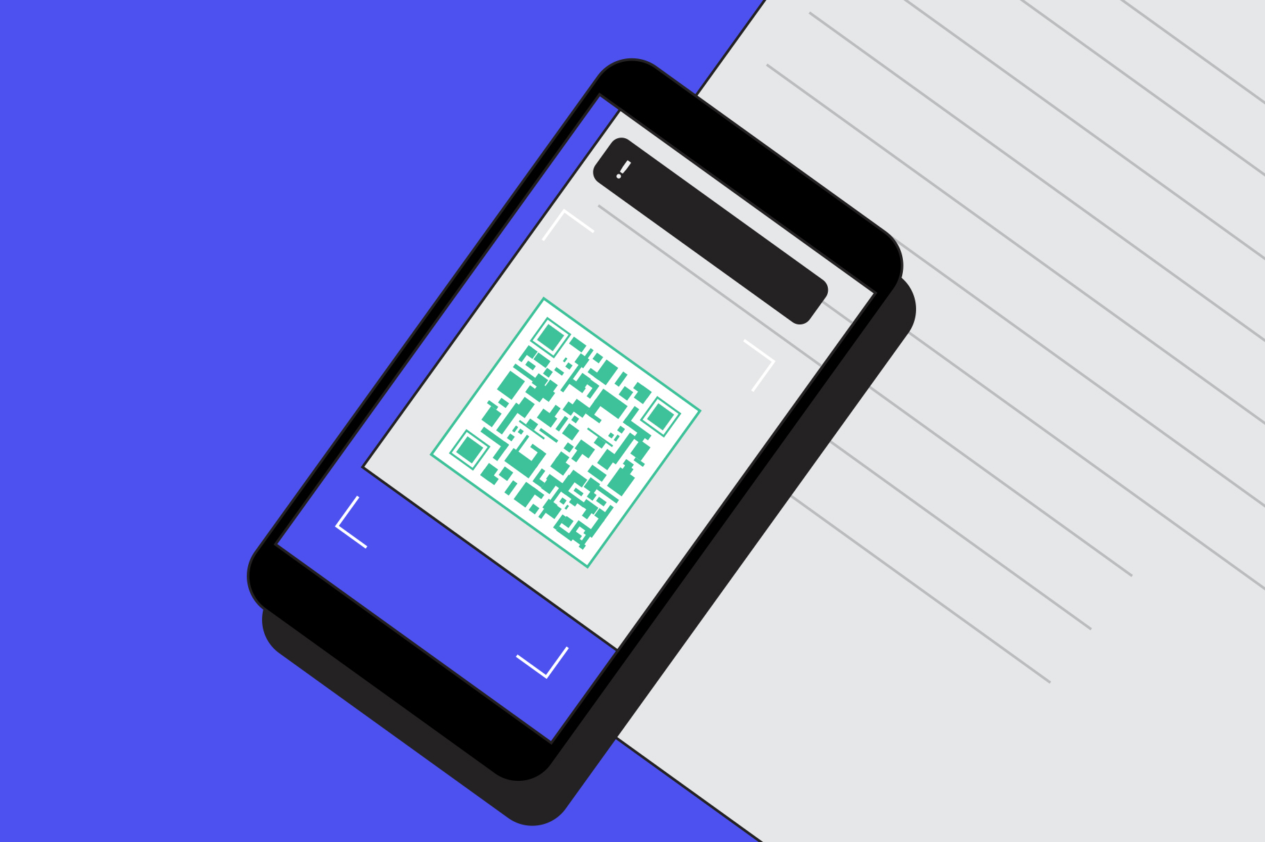 Example of a QR code on a smartphone